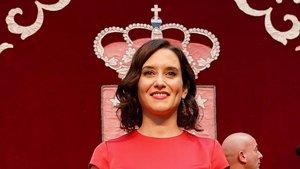 Isabel Diaz Ayuso, presidenta de la Comunidad de Madrid, en el día de su investidura deen la Asamblea de Madrid.
