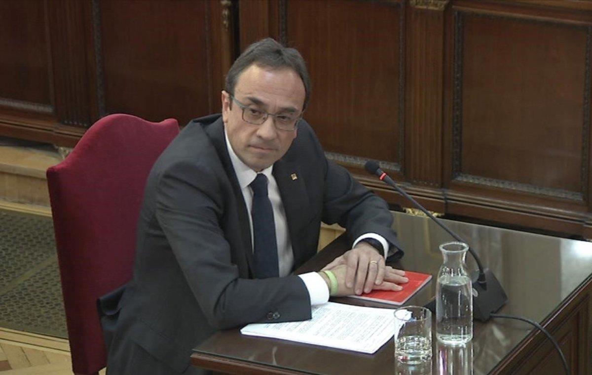 Josep Rull, durante el interrogatorio de la fiscalía en el juicio del 'procés', el pasado 29 de febrero.