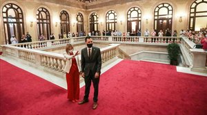 La expresidenta del Parlament, Carme Forcadell, junto al actual presidente de la Cámara catalana, Roger Torrent.