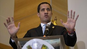 Juan Guaidó, en una rueda de prensa.