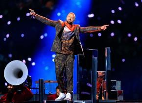 Justin Timberlake durante su actuación en el descanso de la Super Bowl 2018