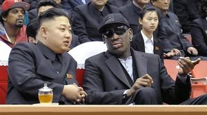 Kim Jong-un y Dennis Rodman, en febrero del 2013, en Pionyang.