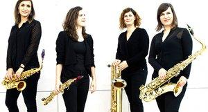 Las cuatro saxofonistas integrantes de Limnos Quartet.