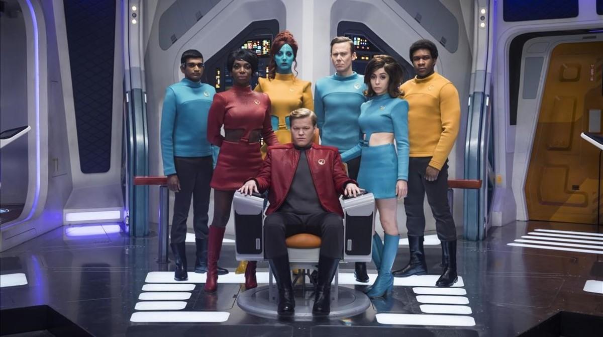 Los actores de USS Callister, el episodio que abre la nueva tacada de Black Mirror.