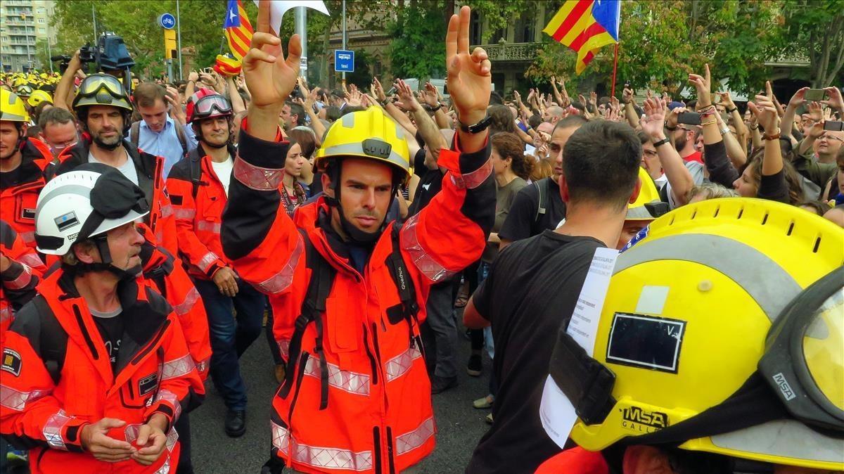 Los bomberos, protagonistas de varias de las manifeestaciones de Barcelona.