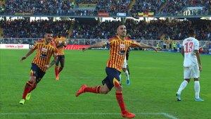 Mancosu celebra el tanto de penalti que significó el empate con la Juventus.