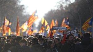 La manifestación en Barcelona contra el juicio del procés.