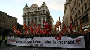 Manifestación contra la reforma laboral, en Barcelona, el 19 de febrero del 2012.