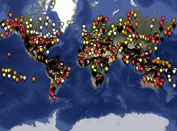 Mapa de la UNESCO donde se muestran todas las lenguas con riesgo a desaparecer