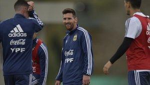 Messi, concentrado con la selección argentina.