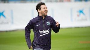 Leo Messi, en su retorno a los entrenamientos.