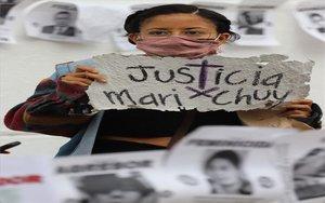 Mujeres en México piden justicia por el feminicidio deMaría Jesús Jaime Zamudio.