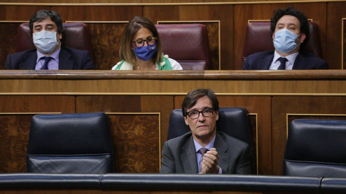 El ministro de Sanidad, Salvador Illa, en el Congreso.