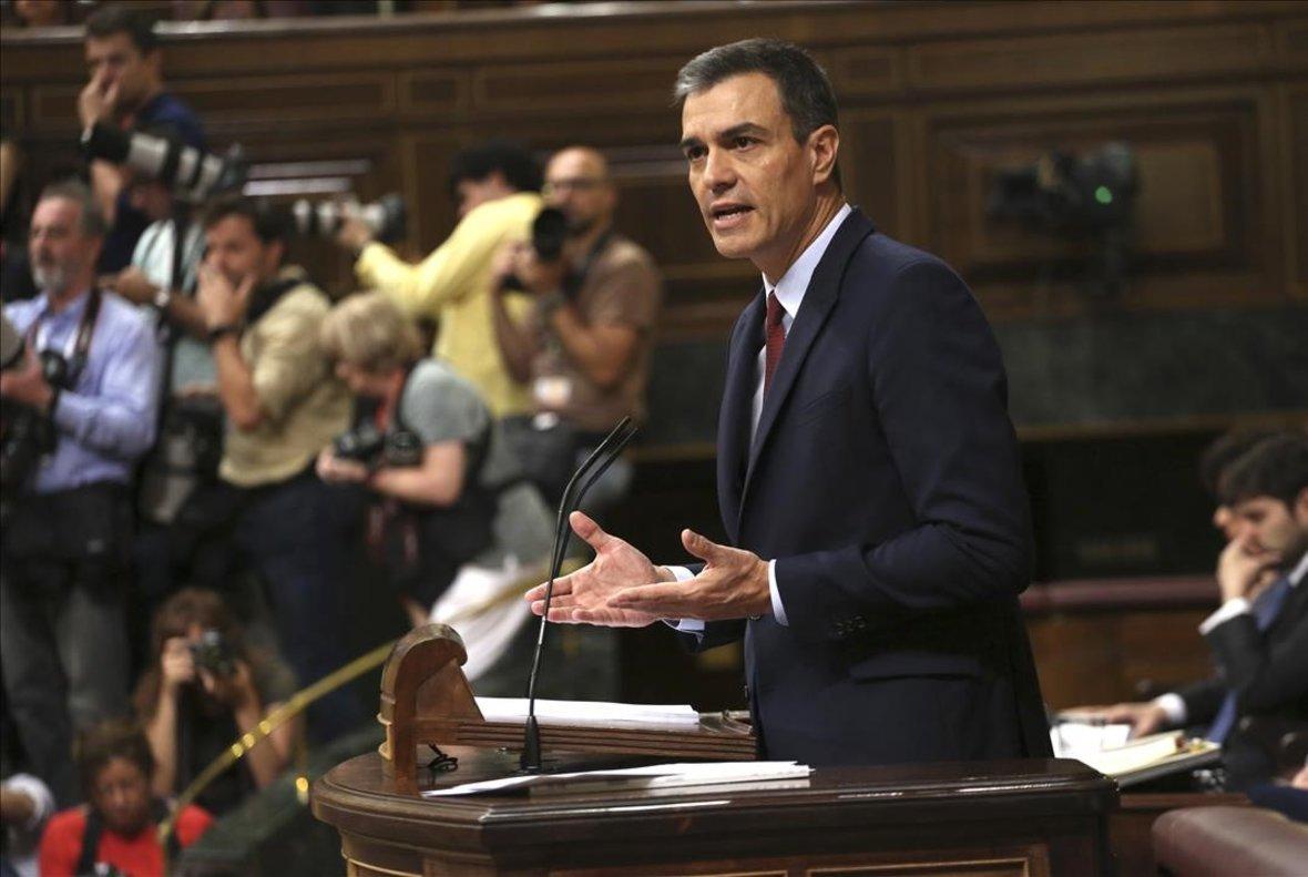 Pedro Sánchez, en la primera sesión del debate de investidura.