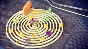 Plato elaborado por Carles Tejedor usando la impresora en 3D Foodini.