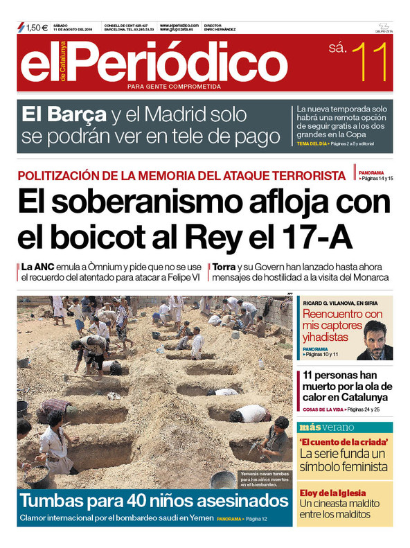 La portada de EL PERIÓDICO del 11 de agosto del 2018
