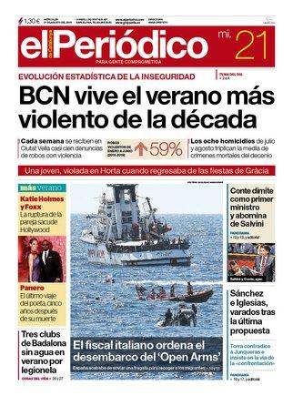 La portada de EL PERIÓDICO del 21 de agosto del 2019