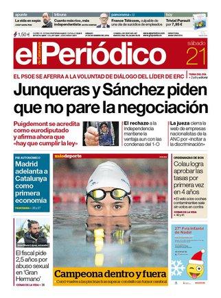 La portada de EL PERIÓDICO del 21 de diciembre del 2019