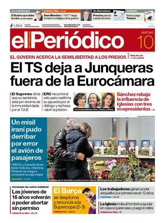 La portada de EL PERIÓDICO del 10 de enero del 2020