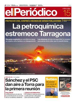 La portada de EL PERIÓDICO del 15 de enero del 2020.