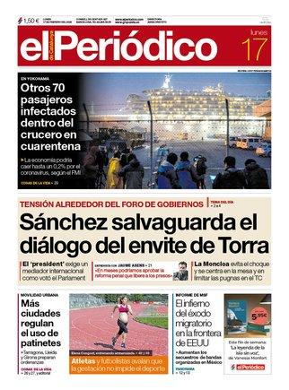 La portada de EL PERIÓDICO del 17 de febrero del 2020.