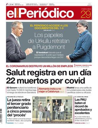 La portada de EL PERIÓDICO del 29 de julio del 2020
