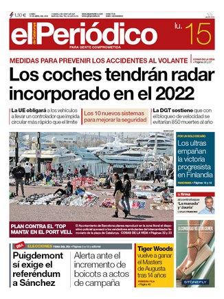 La portada de EL PERIÓDICO del lunes, 15 de abril del 2019.