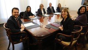 Presentación acuerdospresupuestos de la Generalitat en la sede de Economía.