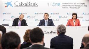Gonzalo Gortázar, consejero delegado de Caixabank, en la presentación de resultados del primer trimestre de este 2019 en València