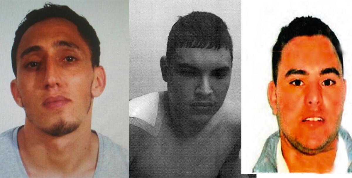 De izquierda a derecha, los tres principales procesados por los atentados de Catalunya de agosto de 2017: Driss Oukabir, Mohamed Houli Chemlal (al poco de ser rescatado por los bomberos tras la explosión del chalé de Alcanar) y Said Ben Iazza.
