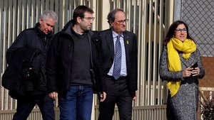 El 'president' Quim Torra, a su salida de la prisión de Soto del Real tras reunirse con Oriol Junqueras, Jordi Turull y Raül Romeva.
