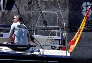 GRAF8980. PALMA DE MALLORCA, 29/07/2018.- El Rey Felipe VI hoy en el Aifos 500, atracado en Porto Pí, en el que realizará entrenamientos previos al inicio de la 37 Copa del Rey de Vela. EFE/Ballesteros