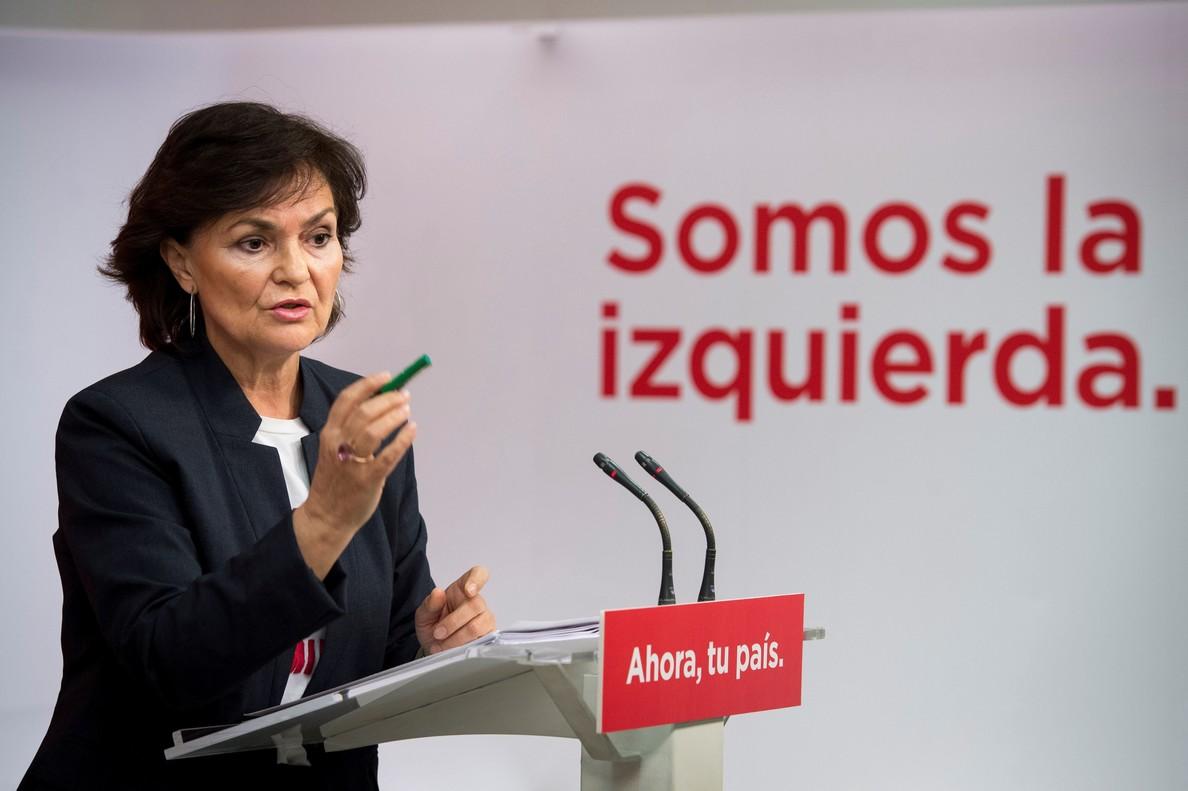Carmen Calvo, durante unarueda de prensa.