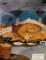 Smaug, ilustrado por el propio Tolkien. En la silueta, Bilbo, en el cómic.