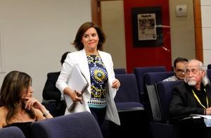 Soraya Sáenz de Santamaría, en la rueda de prensa del Consejo de Ministros, el pasado 1 de julio.