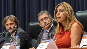 La presidenta de la Junta de Andalucía, Susana Díaz, en un acto oficial en Huelva.