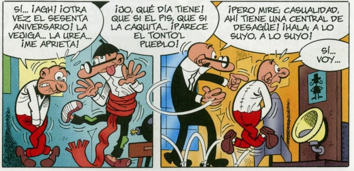 Viñeta del álbum Mortadelo y Filemón 'El 60 aniversario', con la pareja de agentes de la T.I.A. sufriendo los achaques de la edad.