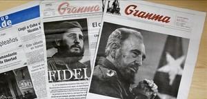 Imagen deperiódicos cubanos alusivos al 90 cumpleaños del líderde la revolución cubana, Fidel Castro.