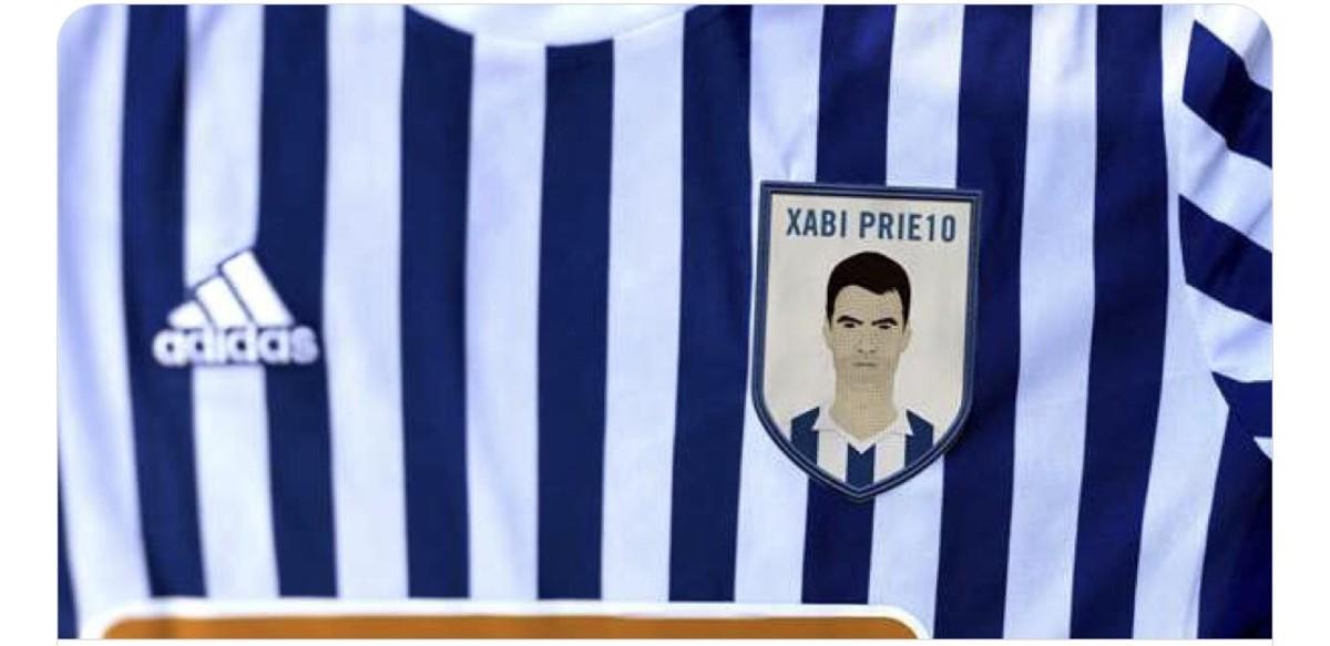 Imagen de Xabi Prieto en el escudo que lucirá la Real el sábado frente al Leganés.