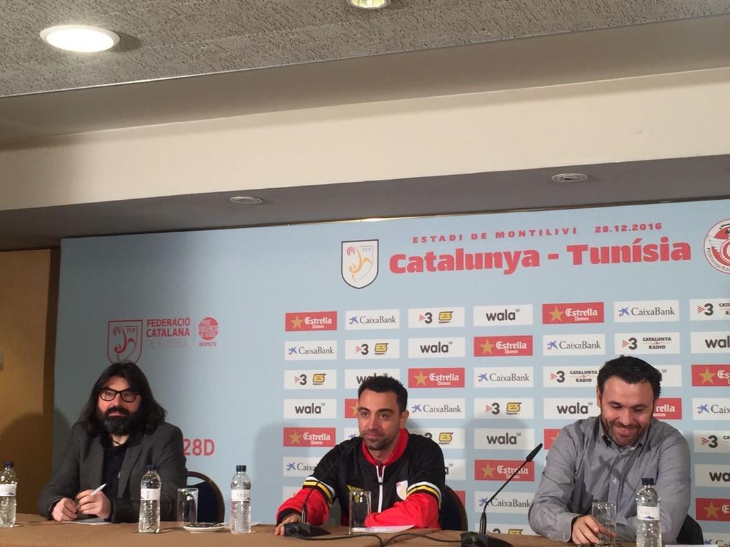 Xavi y Sergio González, en la rueda de prensa del Catalunya-Túnez, en Girona.