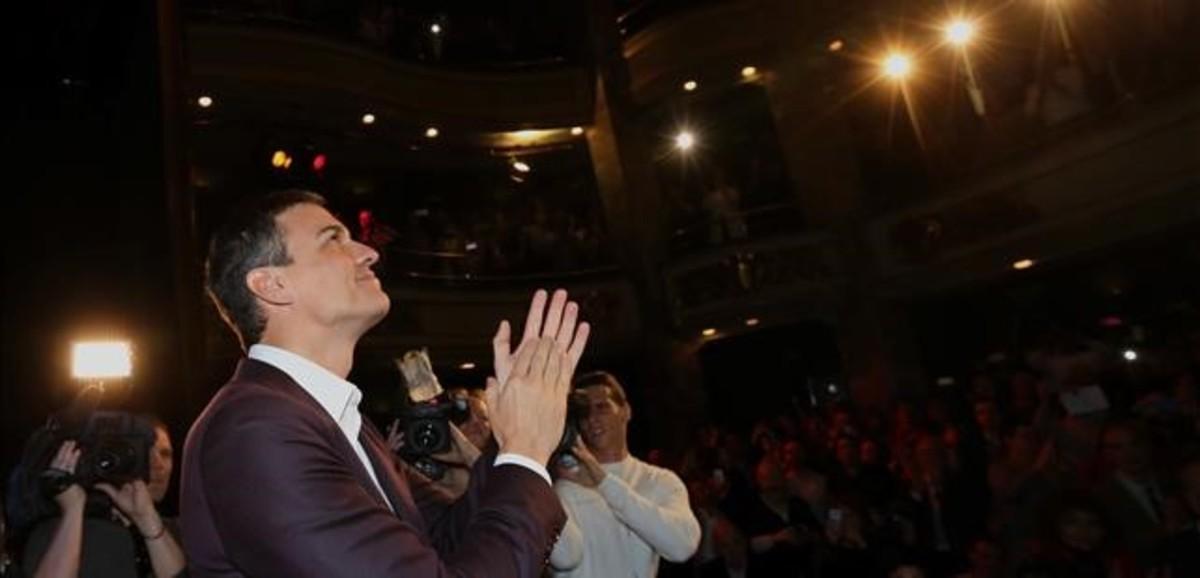 Pedro Sánchez presenta su proyecto para el PSOE en el Círculo de Bellas Artes deMadrid.