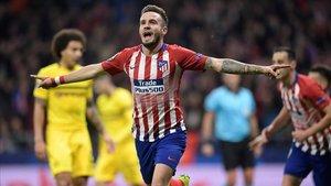 Saúl celebra el primer gol del Atlético ante el Dortmund.