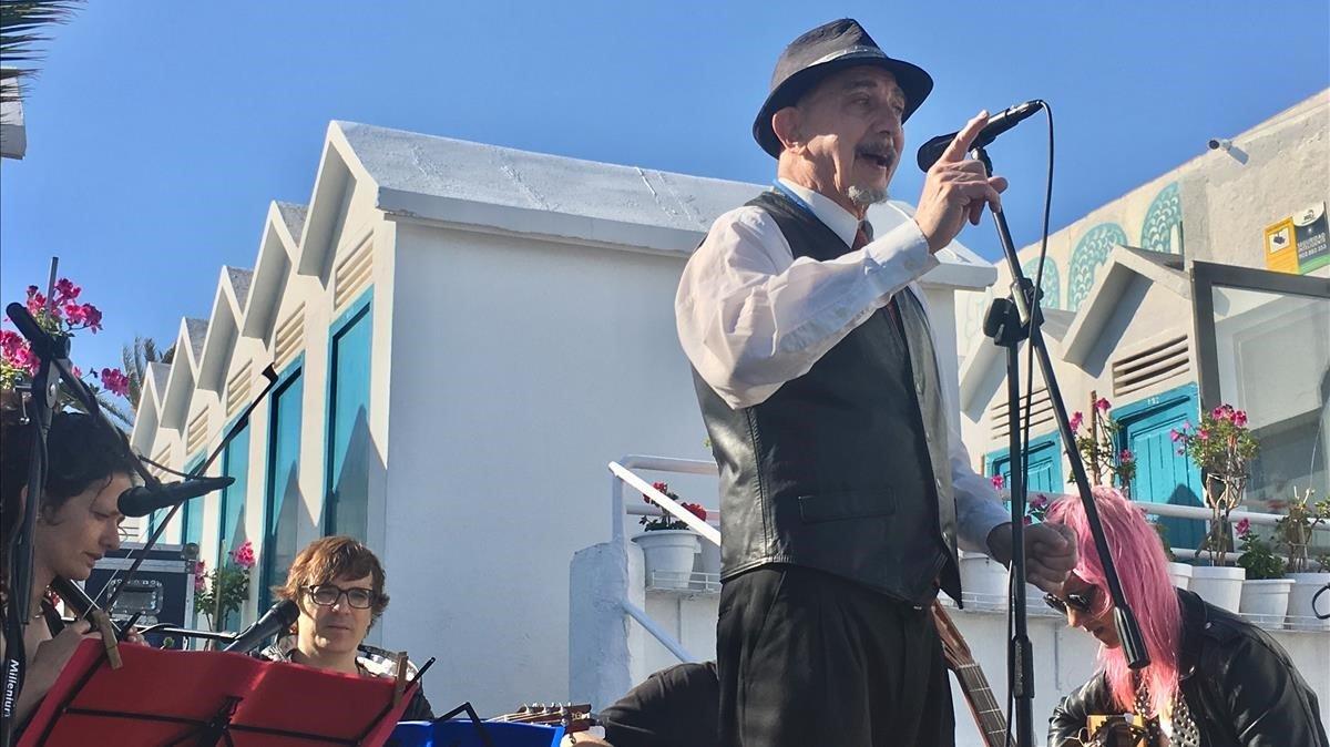 Oriol Tramvia en su actuación en La Donzella de Badalona.