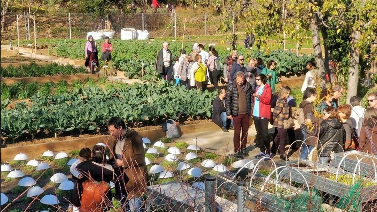 Vecinos del Guinardó visitan los jardines del Doctor Pla i Armengol el día de su inauguración como equipamiento
