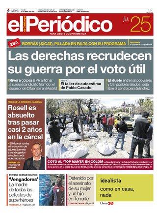 La portada d'EL PERIÓDICO del 24 d'abril del 2019