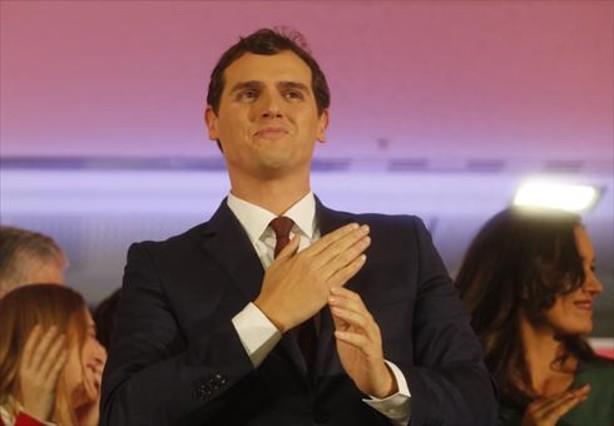 Albert Rivera, ensu comparecencia de anoche en Madrid.