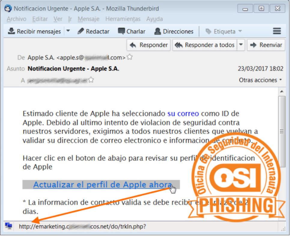 Aspecto del correo fraudulento ('phishing') que pueden recibir los usuarios de Apple.