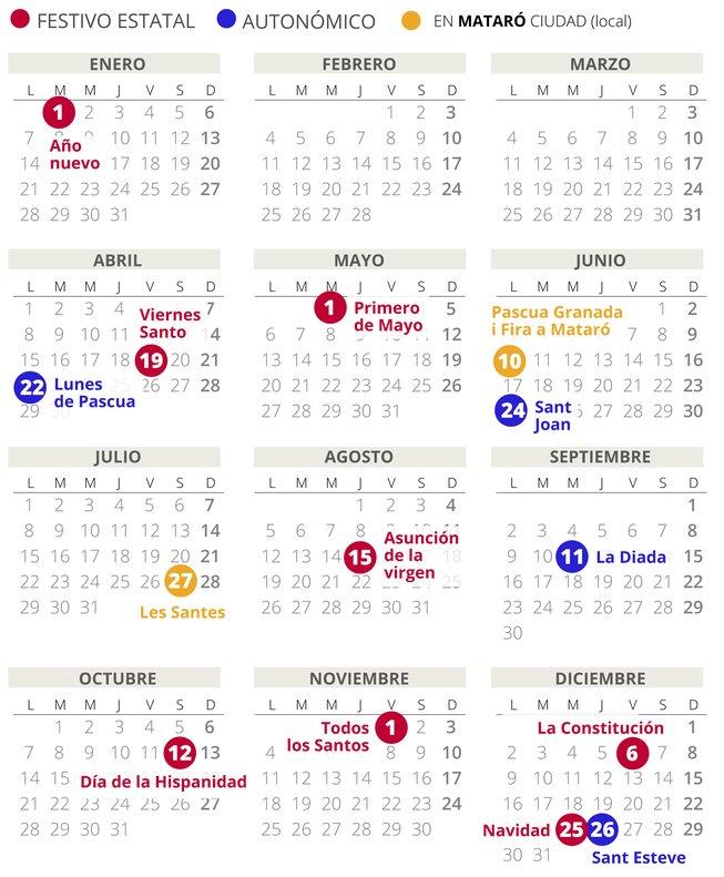 Calendario laboral de Mataró del 2019.
