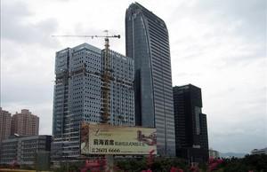 Rascacielos en construcción en Shenzhen.