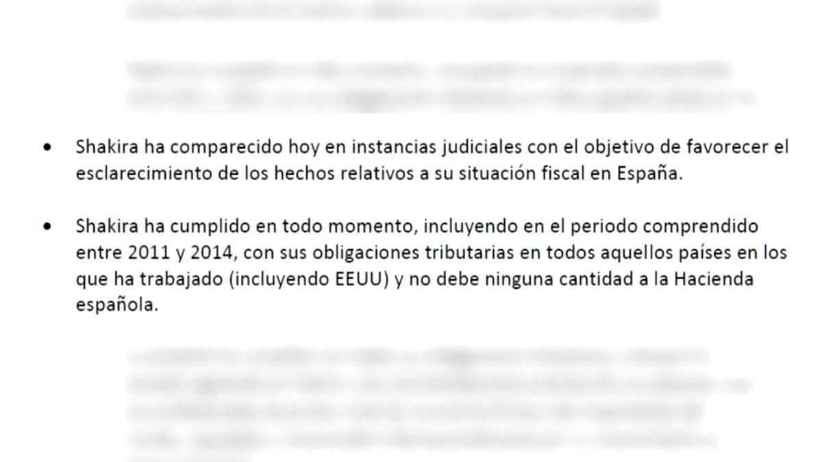 Comunicado de prensa en el que Shakira alega que comenzó a vivir en España en 2015 y que no debe a Hacienda.